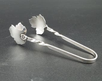 Vintage Sterling Silver Sugar Tongs~ Leaf Shaped ~ Hallmarked R
