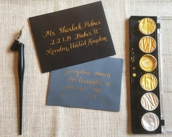 Gold Shimmery Metallic Formal Calligraphy Wedding Invitations