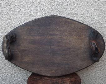 Vintage serving tray wooden vine handles