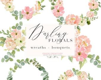 Floral Watercolor Wreath Clipart PNG, Botanical Print, Flower wreath clip  art, Menu Cards