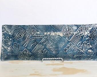 Handmade Nautical Pottery Tray/Blue Pirate Tray/Pottery Textured Tray/Pottery Serving Dish/Stoneware Tray/Pirate Dish/Catchall Remote Tray