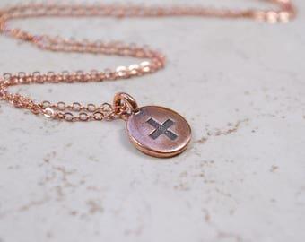 Copper Plus Sign Necklace, Meditation Charm Pendant, Positive Sign Cross Symbol, Bright Copper Chain