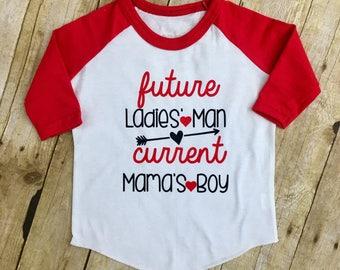 Mamas Boy Shirt - Ladies Man Shirt - Boy Valentine Shirt - Valentines Outfit - Toddler Boy Shirt - Valentines Raglan