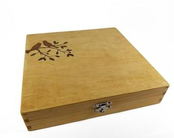 Love Birds - Tree with Two Birds Inlay Keepsake Box - Wedding Keepsake Box