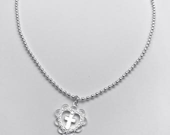 Silver Heart Cross Pendant Necklace with Sterling Silver Ball Chain