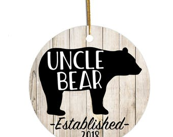 Uncle Ornament, Uncle Bear, Ornament for Uncle, Christmas Ornament, Pregnancy Reveal to Uncle, Pregnancy Announcement, Gift for Uncle