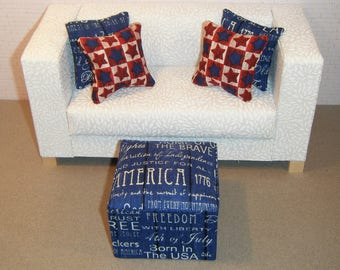 1:6 Scale Furniture Pouf and 4 Pillows - Barbie Momoko Blythe Pullip Fashion Dolls - Living Room Diorama - Patriotic Red White and Blue
