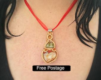 Jasper and Unakite Necklace  - Earth Goddess - Hippie Jewelry -  Hippie Necklace -  Gemstone Necklace  - Pagan Jewelry -Polymer Clay Jewelry
