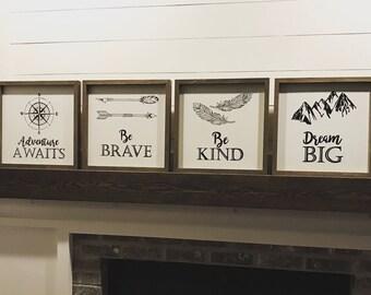 Rustic Nursery Decor, Be Brave, Adventure Awaits, Be Kind, Dream Big
