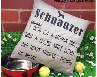 Schnauzer Dog Dictionary Definition Cushion Cover