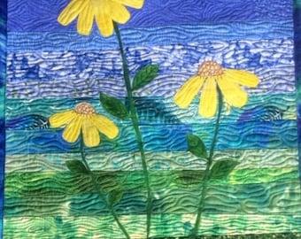 Art Quilt Yellow Daisies, Landscape Quilt Wall Hanging, Quilted Wall Art Blue Green Yellow, Home Decor Fiber Art