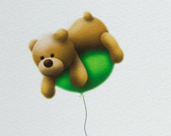 Freddy the Teddy Bear, Fine Art Print, 5x7, 8x10, cute illustration, balloons
