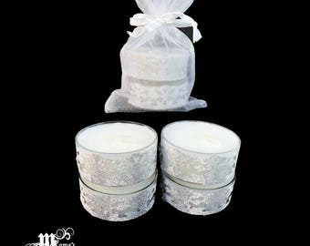 "Unscented Tealights with Silver Lace, 1.5""w x 0.6""h, Paraffin, Organza Pouch (x3), Sparkly, Wedding, Bride, Dinner, Long-lasting, Candles"