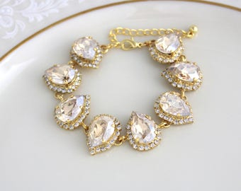 Crystal Bridal bracelet, Gold bracelet, Bridal jewelry, Wedding bracelet, Swarovski bracelet, Crystal bracelet, Champange crystal bracelet