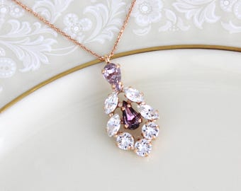 Rose gold necklace, Bridal necklace, Bridesmaid necklace, Bridal jewelry, Blush crystal necklace, Swarovski Pendant necklace Wedding jewelry