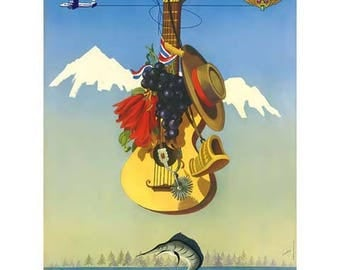 Chile Travel Poster - Vintage Travel Print Art - Home Decor - Guitar