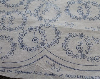Vintage Good Needlework Embroidery Transfers/ 1930s/ Craft Supplies & Tools/ Sewing Transfers/Haberdashery/ Set A/ 006U