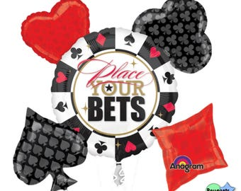 Casino Party Bouquet Of Balloons - Casino Night Party - Prom School - Place Your Bets - Poker Party - Heart, Club, Diamond, Spade