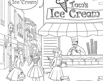 Adult Colouring Page Printable Pages Yalzza Lovely Girls Ice Cream Shop