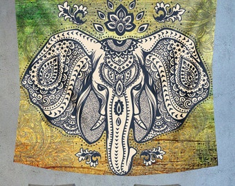 Elephant tapestry, Mandala wall hanging tapestry, hippie tapestry, boehmian tapestry, boho wall decor, psychedelic tapestry