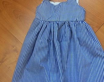Handmade girls nautical navy white stripe sun dress 18-24 months
