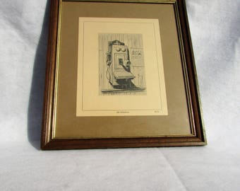 Vintage Old telephone reproduction print #1735/framed/calendar says June 1927/did you work for a phone company?