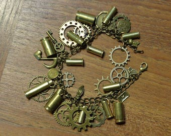 Brass Steampunk/Bullet Charm Bracelet