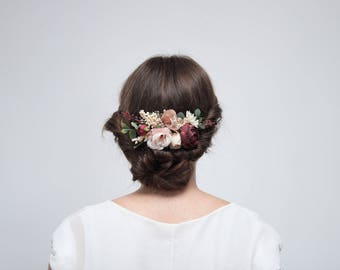 Burgundy Beige Flower Comb \ Bridesmaid Floral Comb Outdoor Wedding Hair Comb Bridesmaid Headpiece Autumn Wedding Floral Accessories