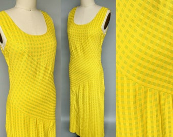 limoncello / 90s bright yellow plaid bias cut dress / small