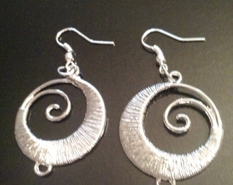 Earrings Wire Wrapped Silver Tone E1102
