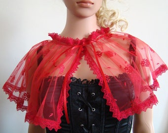 Tulle and lace red Cape capelet