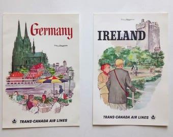 Vintage Trans-Canada Air Lines Postcards Set Of 2 Vintage Postcards Germany Ireland