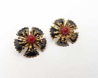 Vintage Clip on Earrings Black Red and Gold Tone Plastic & Metal Flower Floral Modernist Mod Retro Classic Feminine Statement