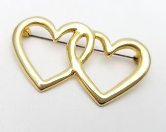 Vintage Brooch Two Hearts Intertwined Sweatheart Brooch 80s Gold Tone Metal love romantic gift