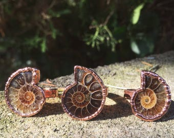 Copper Ammonite Ring // Electroformed Jewelry