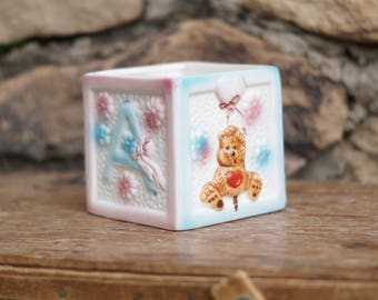 Vintage ABC Teddy Bear Planter/Vintage Alphabet Baby Block/ABCs Baby Cube Planter/Baby Shower Centerpiece/Teddy Bear/Pink Blue Baby Block