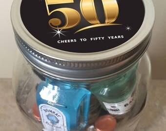 Fabulous 50th Birthday Minibar in a Jar - Milestone Birthday