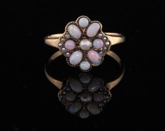 Antique Victorian 10K Yellow Gold Opal and Seed Pearl Cluster Ring