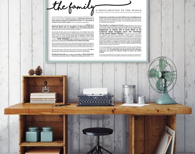 Horizontal Family Proclamation Print- Various Sizes
