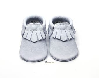 Limited Edition Baby Blue Fringe Leather Baby Moccasins Toddler Moccs Toddler Moccasins Blue Baby Crib Shoes