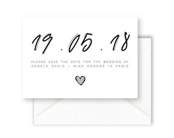 Printable Save The Date Card, Wedding Invitation, Wedding Announcement, Simple Invite, Modern & Minimal Save The Date Card [02]