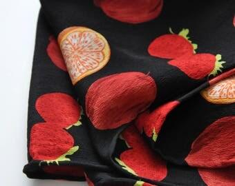 Vintage 90s silk scarf, fruit print scarf, cherry print scarf, long silk scarf, black and red scarf, hipster scarf