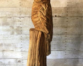 Owl Chainsaw Carving - Vintage Wood Art Sculpture
