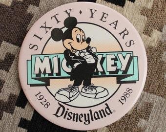 Vintage Disneyland & Mickey Mouse Pastel Button - 1988