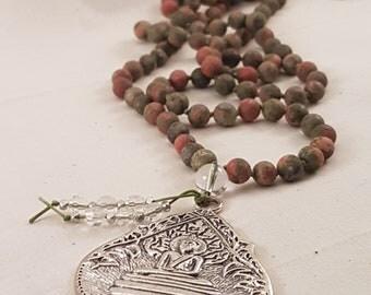 Salmon Moss Unakite Mala/ 108 Mala Beads/ Japa Mala/ Buddha Necklace.