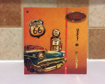 Male Birthday Card - USA/Route 66/Cars - luxury personalised unique quality special bespoke UK - Dad/Son/Uncle/Brother/Nephew