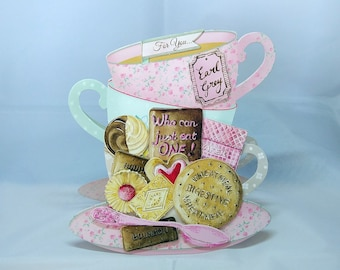 3D Tea & Biscuits  Female Birthday Card - luxury personalised unique quality special bespoke UK - Mum/Daughter/Aunt/Sister/Niece/Grandma