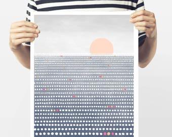 Sunshine - fine art Giclée print - modern sea landscape Ocean points abstract landscape - Sun print