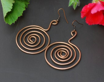 Rustic Jewelry Hammered Copper Earrings Oxidized Copper Organic Copper Earrings Rustic Hammered Copper Earrings Artisan Earrings Steam punk