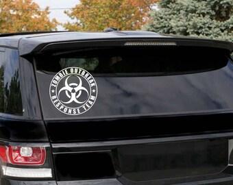 Set Of 2 Zombie Outbreak Response Team Window Sticker , Zombie hunter Car Sticker , Zombie Response Bumper Decal -